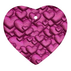 Shimmering Hearts Pink Heart Ornament (two Sides)