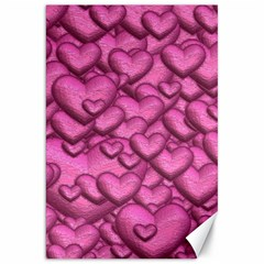 Shimmering Hearts Pink Canvas 20  X 30