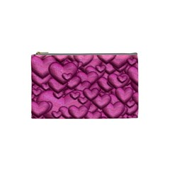 Shimmering Hearts Pink Cosmetic Bag (small)