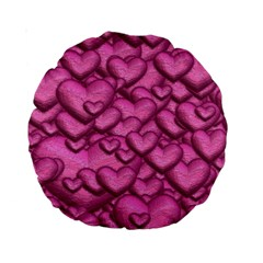 Shimmering Hearts Pink Standard 15  Premium Round Cushions