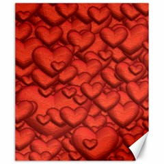 Shimmering Hearts Deep Red Canvas 20  X 24