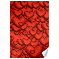 Shimmering Hearts Deep Red Canvas 20  X 30