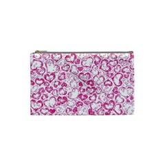 Vivid Hearts, Pink Cosmetic Bag (small)