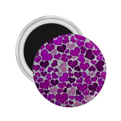 Sparkling Hearts Purple 2 25  Magnets