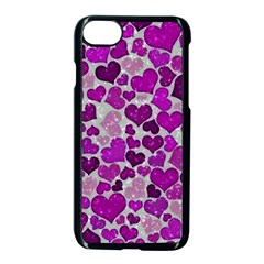 Sparkling Hearts Purple Apple Iphone 8 Seamless Case (black)