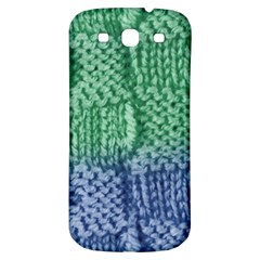 Knitted Wool Square Blue Green Samsung Galaxy S3 S Iii Classic Hardshell Back Case