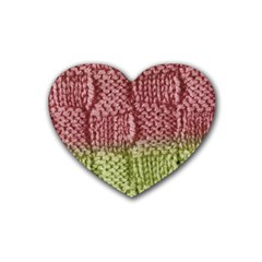 Knitted Wool Square Pink Green Heart Coaster (4 Pack)