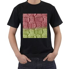Knitted Wool Square Pink Green Men s T Shirt (black)