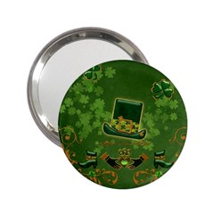 Happy St  Patrick s Day With Clover 2 25  Handbag Mirrors