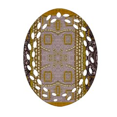Gothic In Modern Stars And Pearls Oval Filigree Ornament (two Sides)
