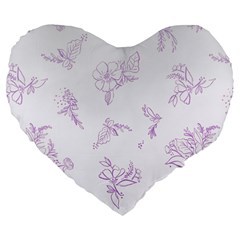 Beautiful,violet,floral,shabby Chic,pattern Large 19  Premium Flano Heart Shape Cushions