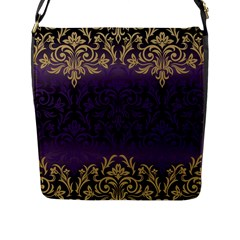 Art Nouveau,vintage,damask,gold,purple,antique,beautiful Flap Messenger Bag (l)