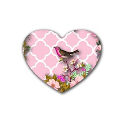 Shabby Chic, Floral,pink,birds,cute,whimsical Heart Coaster (4 Pack)