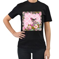 Shabby Chic, Floral,pink,birds,cute,whimsical Women s T Shirt (black)