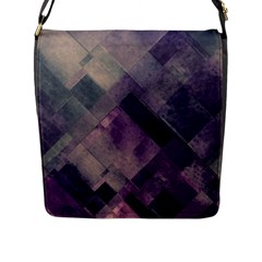 Vintage Style Graphic Print In Blues And Purples Flap Messenger Bag (l)