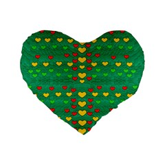 Love Is In All Of Us To Give And Show Standard 16  Premium Flano Heart Shape Cushions