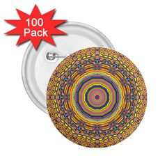 Wood Festive Rainbow Mandala 2 25  Buttons (100 Pack)