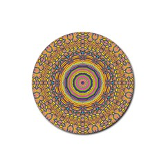 Wood Festive Rainbow Mandala Rubber Coaster (round)