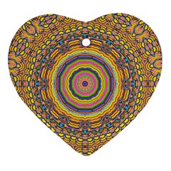 Wood Festive Rainbow Mandala Heart Ornament (two Sides)