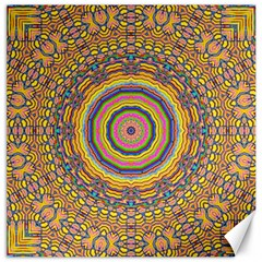 Wood Festive Rainbow Mandala Canvas 16  X 16