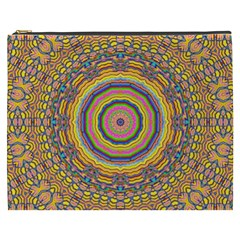 Wood Festive Rainbow Mandala Cosmetic Bag (xxxl)