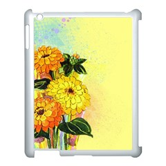 Background Flowers Yellow Bright Apple Ipad 3/4 Case (white)