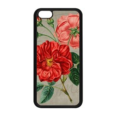 Flower Floral Background Red Rose Apple Iphone 5c Seamless Case (black)
