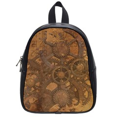 Background Steampunk Gears Grunge School Bag (small)