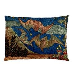 Bats Cubism Mosaic Vintage Pillow Case