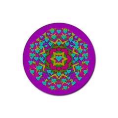 Hearts In A Mandala Scenery Of Fern Rubber Round Coaster (4 Pack)