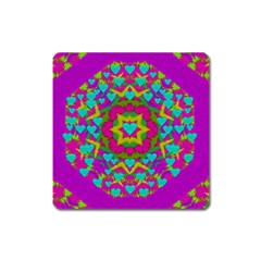Hearts In A Mandala Scenery Of Fern Square Magnet