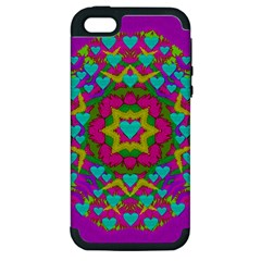 Hearts In A Mandala Scenery Of Fern Apple Iphone 5 Hardshell Case (pc+silicone)