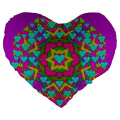 Hearts In A Mandala Scenery Of Fern Large 19  Premium Heart Shape Cushions