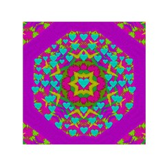 Hearts In A Mandala Scenery Of Fern Small Satin Scarf (square)