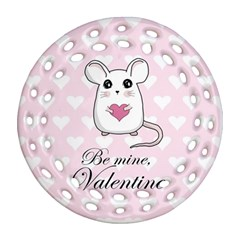 Cute Mouse   Valentines Day Ornament (round Filigree)