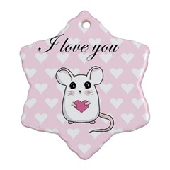 Cute Mouse   Valentines Day Ornament (snowflake)
