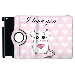 Cute Mouse   Valentines Day Apple Ipad 3/4 Flip 360 Case