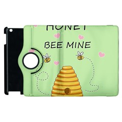 Bee Mine Valentines Day Apple Ipad 3/4 Flip 360 Case