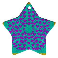 Raining Love And Hearts In The  Wonderful Sky Ornament (star)