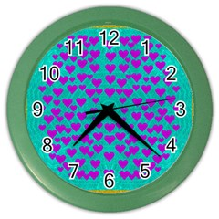 Raining Love And Hearts In The  Wonderful Sky Color Wall Clocks