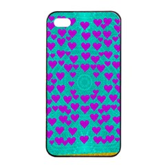 Raining Love And Hearts In The  Wonderful Sky Apple Iphone 4/4s Seamless Case (black)
