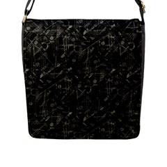 Abstract Collage Patchwork Pattern Flap Messenger Bag (l)