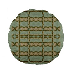 Celtic Wood Knots In Decorative Gold Standard 15  Premium Flano Round Cushions