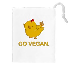 Go Vegan   Cute Chick  Drawstring Pouches (xxl)