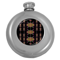 Paradise Flowers In A Decorative Jungle Round Hip Flask (5 Oz)
