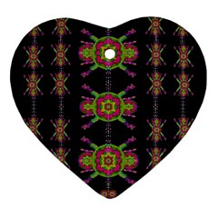Paradise Flowers In A Decorative Jungle Heart Ornament (two Sides)