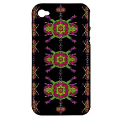Paradise Flowers In A Decorative Jungle Apple Iphone 4/4s Hardshell Case (pc+silicone)