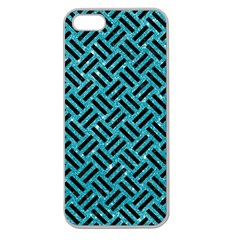 Woven2 Black Marble & Turquoise Glitter Apple Seamless Iphone 5 Case (clear)