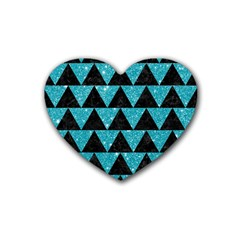 Triangle2 Black Marble & Turquoise Glittertriangle2 Black Marble & Turquoise Glitter Heart Coaster (4 Pack)