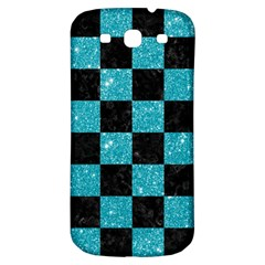 Square1 Black Marble & Turquoise Glitter Samsung Galaxy S3 S Iii Classic Hardshell Back Case